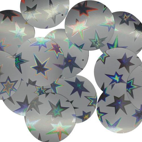 30mm Sequins Starburst Silver Galaxy Shiny Matte