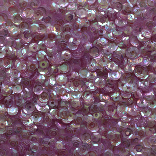 4mm Cup Sequins Soft Lilac Lavender Crystal Rainbow Iris Iridescent
