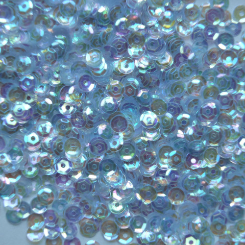 4mm Cup Sequins Pale Tint Blue Crystal Rainbow Iris Iridescent