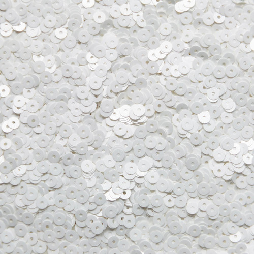 4mm Sequins Satin White Matte Silk Frost