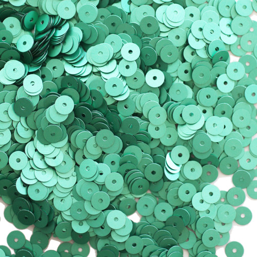 5mm Sequins Green Matte Silk Frost