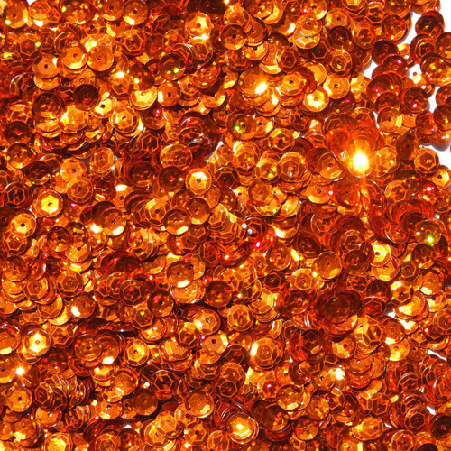 6mm Cup Sequins Orange Hologram Glitter Sparkle Metallic