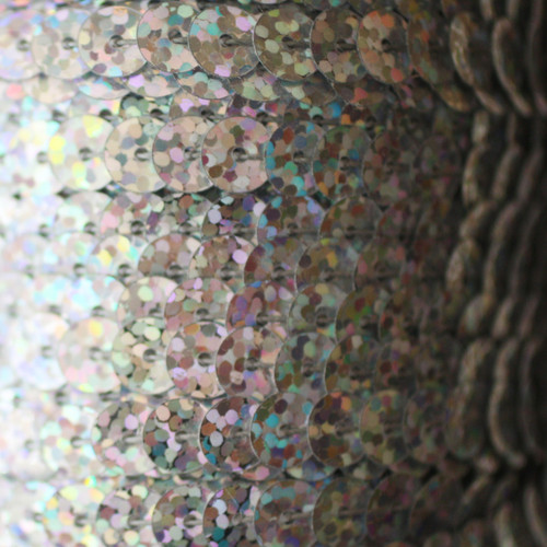 Sequin Trim 6mm Silver Hologram Glitter Sparkle Metallic
