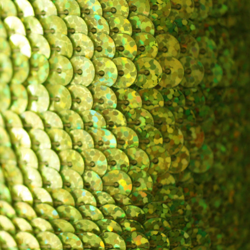 Sequin Trim 6mm Yellow Hologram Glitter Sparkle Metallic