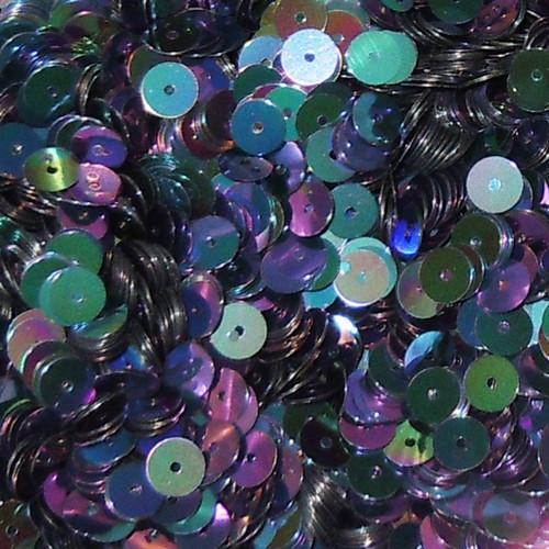 6mm Sequins Black Rainbow Iris Shiny Metallic