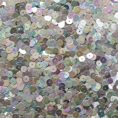 6mm Sequins Silver Rainbow Iris Shiny Metallic