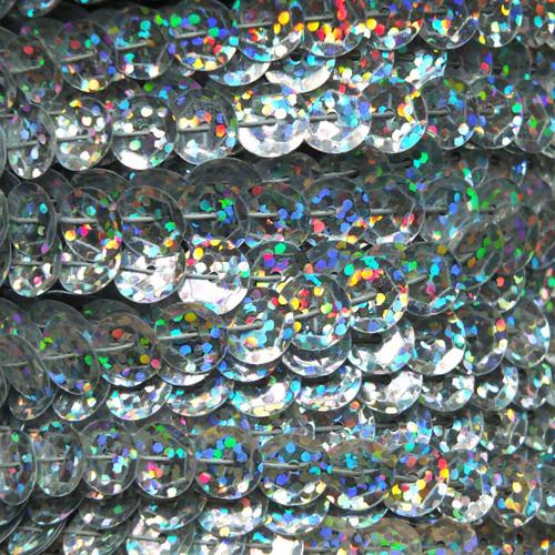 Sequin Trim 8mm Cup Ultra Silver Hologram Glitter Sparkle Metallic