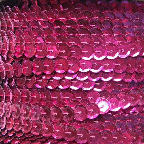 Sequin Trim 8mm Cup Fuchsia Pink Metallic