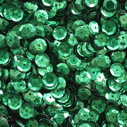8mm Cup Sequins Green Hologram Glitter Sparkle Metallic