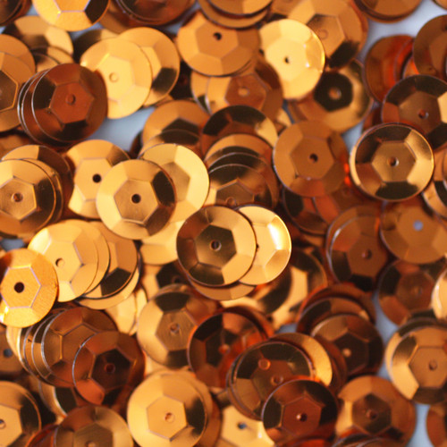 8mm Cup Sequins Orange Metallic