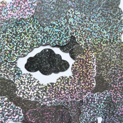 "Cloud Sequin 1.5"" Silver Hologram Glitter Sparkle Metallic"