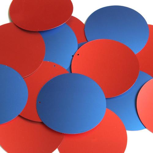 "2"" Sequins Red Blue Matte Silk Frost"