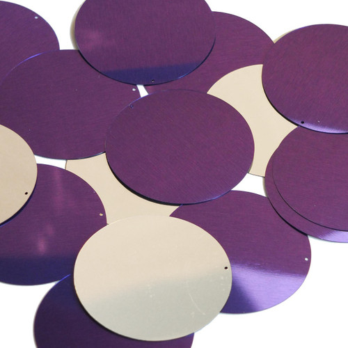 50mm Sequins Purple Silver Metallic
