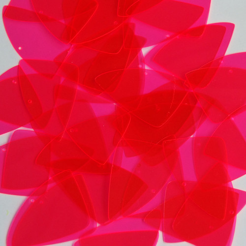 "Fishscale Fin Sequin 1.5"" Pink Transparent See-Thru Fluorescent"
