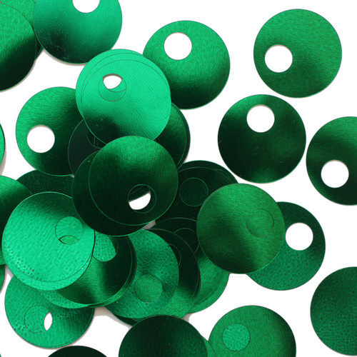 20mm Sequins Large Hole Green Metallic