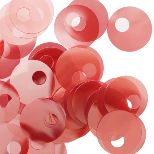 20mm Sequins Large Hole Coral Orange Pink Transparent See-Thru