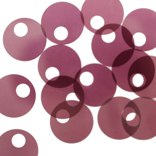 20mm Sequins Large Hole Plum Purple Transparent See-Thru