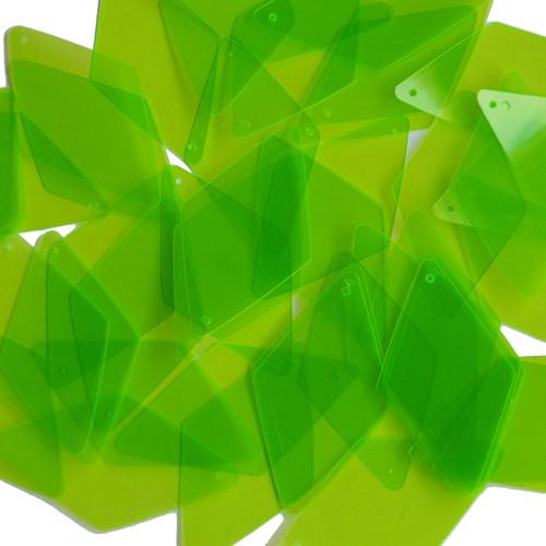"""Long Diamond Sequin 1.75"""" Lime Green Transparent See-Thru Fluorescent"""