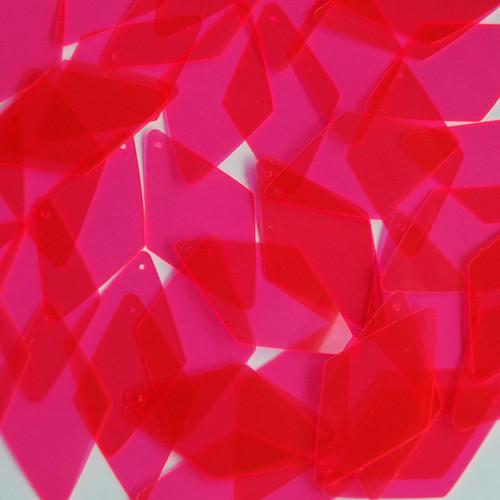 """Long Diamond Sequin 1.75"""" Pink Transparent See-Thru Fluorescent"""