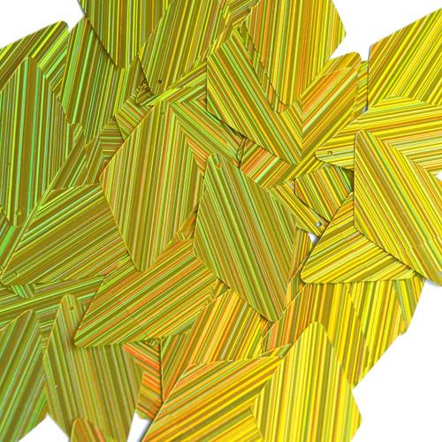 "Long Diamond Sequin 1.75"" Yellow City Lights Metallic Reflective"