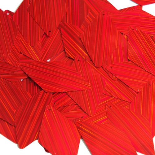 "Long Diamond Sequin 1.75"" Red City Lights Metallic Reflective"