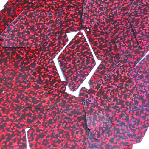 "Long Diamond Sequin 1.75"" Cranberry Red Hologram Glitter Sparkle Metallic"