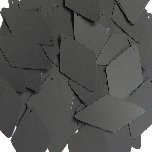 "Long Diamond Sequin 1.75"" Black Matte Silk Frost"