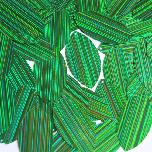 "Navette Leaf Sequin 1.5"" Green City Lights Metallic Reflective"