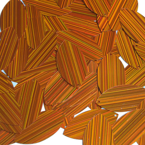 "Navette Leaf Sequin 1.5"" Orange City Lights Metallic Reflective"