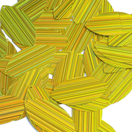 "Navette Leaf Sequin 1.5"" Yellow City Lights Metallic Reflective"