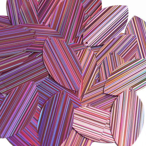 "Navette Leaf Sequin 1.5"" Pink City Lights Metallic Reflective"