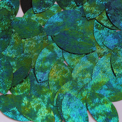 "Navette Leaf Sequin 1.5"" Van Gogh Starry Night Blue Green Embosssed Swirl Texture"