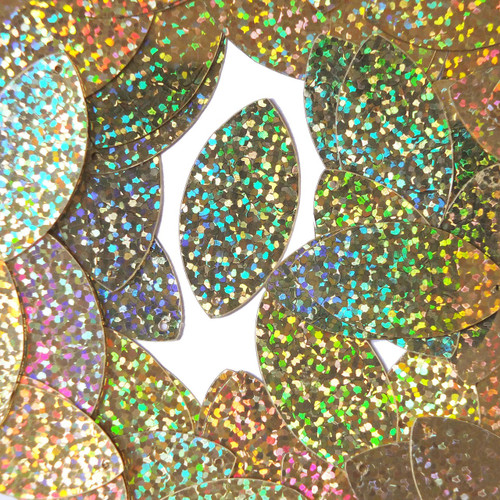 "Navette Leaf Sequin 1.5"" Gold Hologram Glitter Sparkle Metallic"