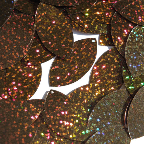 "Navette Leaf Sequin 1.5"" Brown Hologram Glitter Sparkle Metallic"