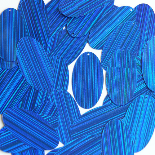 "Oval Sequin 1.5"" Royal Blue City Lights Metallic Reflective"