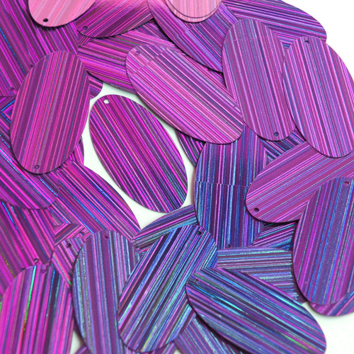 "Oval Sequin 1.5"" Purple City Lights Metallic Reflective"