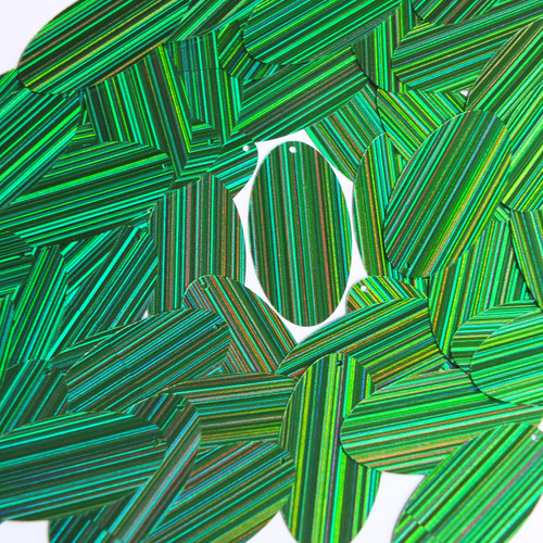 "Oval Sequin 1.5"" Green City Lights Metallic Reflective"