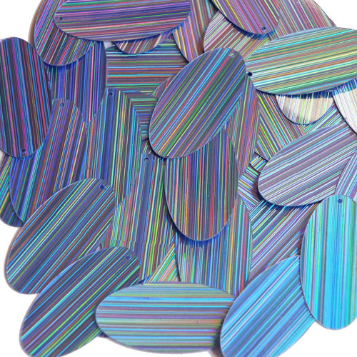 "Oval Sequin 1.5"" Light Blue City Lights Metallic Reflective"