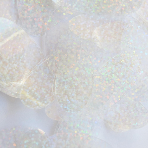"Oval Sequin 1.5"" Crystal Hologram Glitter Sparkle"