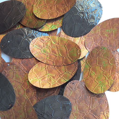 """Oval Sequin 2"""" Leather Brown Gold Bronze Tooled Iris Iridescent"""