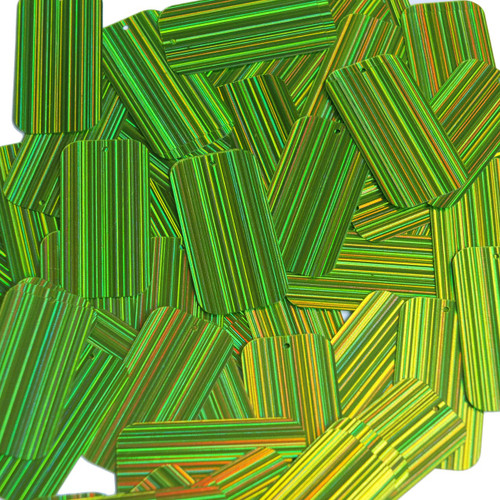 "Rectangle Sequin 1.5"" Lime Green  City Lights Metallic Reflective"