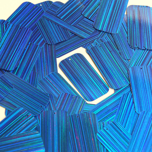 "Rectangle Sequin 1.5"" Royal Blue City Lights Metallic Reflective"