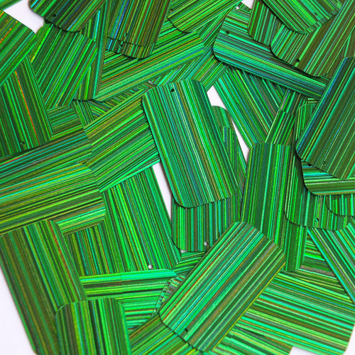 "Rectangle Sequin 1.5"" Green City Lights Metallic Reflective"