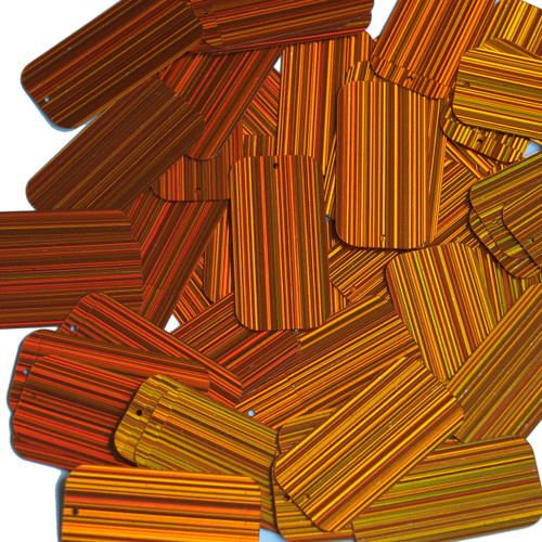 "Rectangle Sequin 1.5"" Orange City Lights Metallic Reflective"
