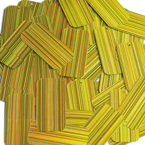 "Rectangle Sequin 1.5"" Yellow City Lights Metallic Reflective"