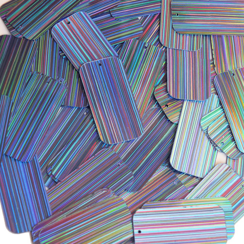 "Rectangle Sequin 1.5"" Light Blue City Lights Metallic Reflective"