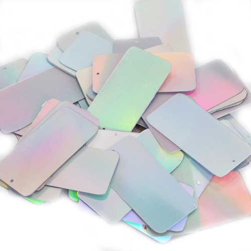 "Rectangle Sequin 1.5"" Silver Lazersheen"
