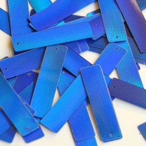"""Sequin Skinny Rectangle 1.5"""" Blue Lazersheen Metallic"""