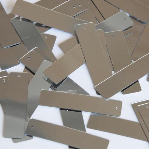 "Sequin Skinny Rectangle 1.5"" Silver Metallic"