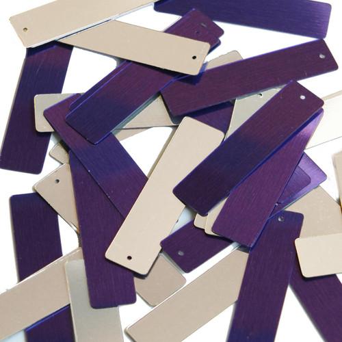 "Sequin Skinny Rectangle 1.5"" Purple Silver Metallic"